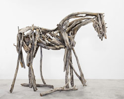 Deborah Butterfield wood horses - LA Louver, cast bronze, burnt pine
