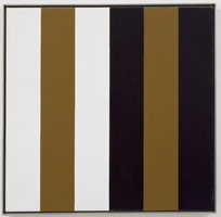 Frederick Hammersley<BR>Here here, #3 1975<BR>oil on linen<BR>panel: 24 1/8 x 24 1/8 in. (61.3 x 61.3 cm)<BR>framed: 24 7/8 x 24 7/8 in. (63.2 x 63.2 cm)