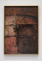Edward Kienholz<BR>The Medicine Show, 1958 - 1959<BR>mixed media assemblage<BR>69 x 48 x 6 in (175.3 x 121.9 x 15.2 cm)<BR>
