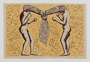Alison Saar<br>Tango, 2005<br>woodcut<br>25 3/4 x 38 3/4 in. (65.4 x 98.4 cm)<br>Edition of 9