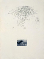 Robert Janz<BR>Changing Lines - Parking Lot Glyph H.D.C., 1980<BR>etching & photograph on paper<BR>29 3/4 x 22 in (75.6 x 57.15 cm)