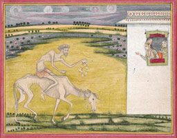 The Emaciated Hero Brings a Garland of Flowers to his Beloved (Rajasthan