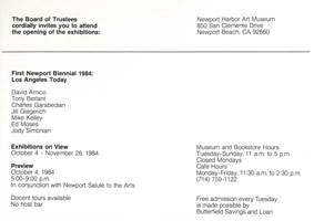 First Newport Biennial 1984: Los Angeles Today<BR>announcement, 1984