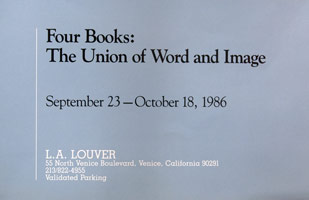 Four Books: The Union of Word and Image announcement, 1986