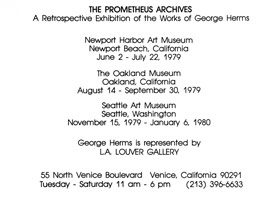 George Herms<BR>Newport Harbor Art Museum announcement, 1979