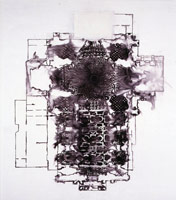 L'Encyclopedie (Marble Flooring Plan of the Church of Val de Grace, Paris), 2000 / acrylic & ink on canvas / 94 x 81 in (238.8 x 205.7 cm) / Private collection