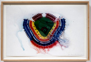 Guillermo Kuitca / Untitled (Dodger Stadium), 2002 / mixed media on paper / paper: 11 x 17 in (27.9 x 43.2 cm) / framed: 13 x 19 in (33 x 48.3 cm) / Private collection