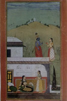 Rajasthani Painting<BR>Two Maids Carry Messages Between Radha and_Krishna, 1725<BR>