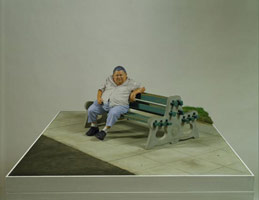 Sandra Mendelsohn Rubin<br> Seated Man, Venice, 1978 - 91<br> painted bronze, wood, concrete, asphalt<br> 14 x 36 9/16 x 48 9/16 in (35.56 x 91.44 x 121.92 cm)