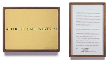 Edward Kienholz<br> After the Ball is Over #1, 1965<br> concept tableau<br> plaque: 9 1/4 x 11 3/4 in (23.5 x 29.8 cm)<br> framed concept: 13 3/8 x 9 1/4 in (33.7 x 23.5 cm)