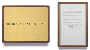 Edward Kienholz<br> The Black Leather Chair, 1966<br> concept tableau<br> plaque: 9 1/4 x 11 3/4 in (23.5 x 29.8 cm)<br> framed concept: 13 3/8 x 9 1/4 in (33.7 x 23.5 cm)