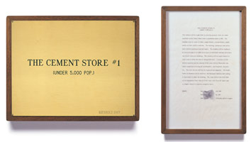 Edward Kienholz<br> The Cement Store #1, 1967<br> concept tableau<br> plaque: 9 1/4 x 11 3/4 in (23.5 x 29.8 cm)<br> framed concept: 13 3/8 x 9 1/4 in (33.7 x 23.5 cm)