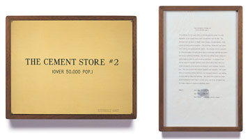 Edward Kienholz<br> The Cement Store #2, 1967<br> concept tableau<br> plaque: 9 1/4 x 11 3/4 in (23.5 x 29.8 cm)<br> framed concept: 13 3/8 x 9 1/4 in (33.7 x 23.5 cm)