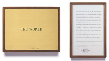 Edward Kienholz<br> The World, 1964<br> concept tableau<br> plaque: 9 1/4 x 11 3/4 in (23.5 x 29.8 cm)<br> framed concept: 13 3/8 x 9 1/4 in (33.7 x 23.5 cm)