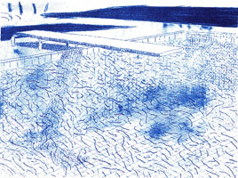 David Hockney<BR>Lithograph of Water Made of Lines A.P. IV/XII, 1978 - 80<BR>lithograph in colors<BR>26 X 34 1/2 in (66 x 87.6 cm)