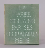 Marcel Duchamp / The Bride Stripped Bare by Her Bachelors Even (or) The Green Box, September 1934 / One color plate with 93 notes, drawings, photographs, and/or facsimiles in green- flocked cardboard box, self-hinged / Box Dimensions: 13 1/16 in. x 11 in. x 1 ft (33.2 x 27.9 x 30.5 cm)