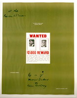 "Marcel Duchamp / A Poster Within a Poster: WANTED $2,000 REWARD, 1963 / Signed Poster for ""Marcel Duchamp: A Retrospective Exhibition,"" at Pasadena Art Museum, 8 Oct – 3 Nov 1963 / Paper Dimensions: 34 7/16 x 27 3/16 in. (87.5 x 69.1 cm) / 