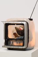 Edward & Nancy Reddin Kienholz / Chicken Little, 1992 / mixed media assemblage / 48 x 15 x 13 in. (121.9 x 38.1 x 33 cm)