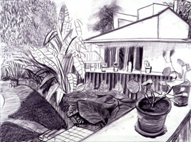 David Hockney<BR>Garden View from Office I, 2000<BR>