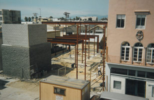 Construction in progress for the Frederick Fisher designed gallery at 45 North Venice Boulevard, Venice, CA