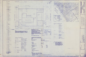 Blueprint for the Frederick Fisher designed gallery at 45 North Venice Boulevard, Venice, CA