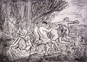 Leon Kossoff<br>Bacchanal before a Herm, 1998<BR>etching <BR>Plate: 16 1/8 x 22 3/8 in (41 x 56.8 cm)<BR>Sheet: 22 1/2 x 29 7/8 in (57.2 x 75.9 cm)