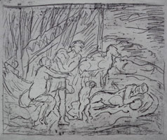 Leon Kossoff<br>Cephalus and Aurora #1, 1998 <BR>etching<BR> Plate: 16 1/8 x 22 3/8 in (41 x 56.8 cm)<BR>Sheet: 22 1/2 x 29 7/8 in (57.2 x 75.9 cm)