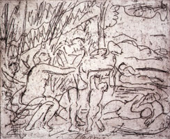 Leon Kossoff<br>Cephalus and Aurora #3, 1998<BR>unique proof<BR>plate: 9 3/4 x 11 13/16 in (24.8 x 30 cm)<BR>paper: 22 7/16 x 21 3/16 in (57 x 53.8 cm)