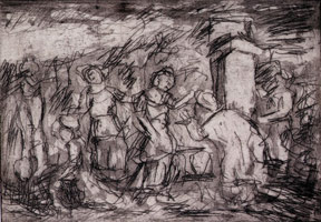 Leon Kossoff<br>Eliezer and Rebecca at the Well, 1998 - 1999<BR>unique proof <BR>Plate: 5 1/2 x 8 in (14 x 20.3 cm)<BR>Paper: 19 3/8 x 16 5/8 in (49.2 x 42.2 cm)