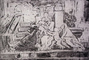 Leon Kossoff<br>The Holy Family on the Step, 1998<BR>etching<BR>Plate: 15 15/16 x 23 7/16 in (40.5 x 59.5 cm)<BR>Paper: 22 3/16 x 29 13/16 in (56.4 x 75.7 cm)