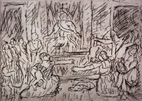 Leon Kossoff<br>The Judgement of Solomon #1, 1998<BR>etching<BR>Plate: 8 1/2 x 11 3/4 in (21.6 x 29.8 cm)<BR>Paper: 22 9/16 x 29 7/8 in (57.3 x 75.9 cm)