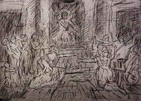 Leon Kossoff<br>The Judgement of Solomon #2, 1998<BR>etching<BR>plate: 16 13/16 x 23 3/8 in (42.7 x 59.4 cm)<BR>paper: 22 1/2 x 29 7/8 in (57.2 x 75.9 cm)