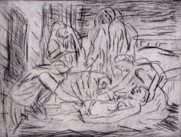 Leon Kossoff<br>The Lamentation over the Dead Christ, 1999<BR>etching<BR>Plate: 17 13/16 x 22 3/4 in (45.2 x 57.8 cm)<BR>Paper: 22 3/8 x 29 15/16 in (56.8 x 76 cm)