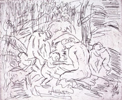 Leon Kossoff<br>The Nursing of Bacchus, 1998 - 1999<BR>unique proof<BR>plate: 9 x 10 3/4 in (22.9 x 27.3 cm)<BR>paper: 21 1/16 x 18 3/8 in (53.5 x 46.7 cm)