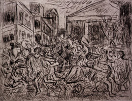 Leon Kossoff<br>The Rape of the Sabines #1, 1999<BR>etching<BR>Plate: 18 x 23 3/8 in (45.7 x 59.4 cm)<BR>Paper: 22 1/2 x 29 7/8 in (57.2 x 75.9 cm)