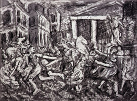Leon Kossoff<br>The Rape of the Sabines #2, 1998<BR>etching<BR>Plate: 18 x 23 3/8 in (45.7 x 59.4 cm)<BR>Paper: 22 1/2 x 29 7/8 in (57.2 x 75.9 cm)