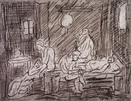 Leon Kossoff<br>The Testament of Eudamidas, 1998<BR>etching<BR>Plate: 16 3/8 x 20 7/8 in (41.6 x 53 cm)<BR>Paper: 22 1/2 x 28 1/16 in (57.2 x 71.3 cm)