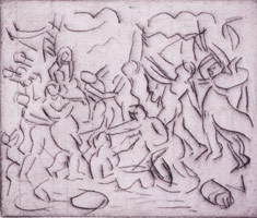 Leon Kossoff<br>The Triumph of Pan from a Poussin drawing (I), 1998<BR>etching<BR>Plate: 7 7/8 x 9 5/8 in (20 x 24.4 cm)<BR>Paper: 22 1/2 x 29 7/8 in (57.2 x 75.9 cm)