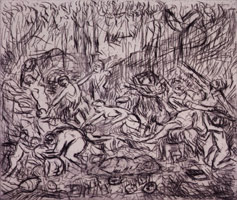 Leon Kossoff<br>The Triumph of Pan from a Poussin drawing (II), 1998<BR>etching<BR>Plate: 13 x 15 7/16 in (33 x 39.2 cm)<BR>Paper: 22 3/8 x 29 7/8 in (56.8 x 75.9 cm)