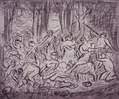 Leon Kossoff<br>The Triumph of Pan from a Poussin drawing (III), 1998<BR>etching<BR>Plate: 17 15/16 x 21 1/2 in (45.6 x 54.6 cm)<BR>Paper: 22 7/16 x 29 13/16 in (57 x 75.7 cm)