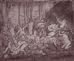 Leon Kossoff<br>The Triumph of Pan from a Poussin drawing (IV), 1998<BR>etching<BR>Plate: 17 15/16 x 21 1/2 in (45.6 x 54.6 cm)<BR>Paper: 22 1/2 x 29 7/8 in (57.2 x 75.9 cm)