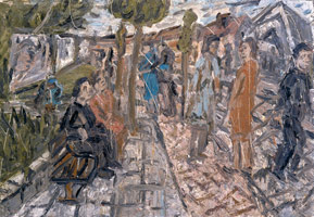 Leon Kossoff<br>A Street in Willesden, Summer, 1983<BR>