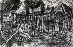 Leon Kossoff<br>A Street in Willesden, 1982<BR>