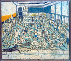 Leon Kossoff<BR> Children's Swimming Pool, 12 o'clock, Sunday Morning, 1971<BR>  oil on board<BR> 72 x 84 in. (182.9 x 213.4 cm)