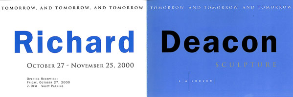 Richard Deacon announcement, 2000