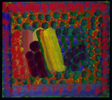 Howard Hodgkin<BR>In Alexander Street, 1977 - 79<BR>oil on wood<BR>17 3/4 x 20 in (45.1 x 50.8 cm)