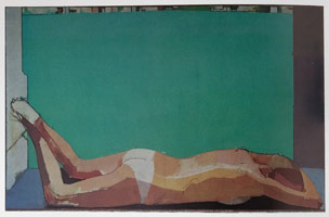 Euan Uglow<BR>Nude with Lake Lugano, 1976<BR>oil on canvas<BR>34.25 x 54.5 in (87 x 138.4 cm)
