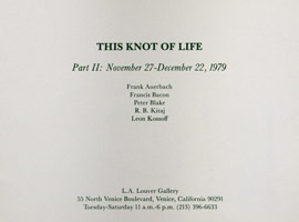 This Knot of Life Part II announcement, 1979