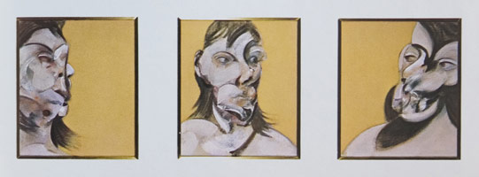 Francis Bacon<BR>Three Studies of Henrietta Moraes, 1969<BR>oil on canvas tryptich<BR>16 x 15 in (40.64 x 38.1 cm)