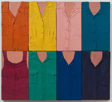 Tony Berlant<BR>Les 8, 1963<BR>cloth, polyester resin and enamel on plywood<BR>43 1/2 x 48 in (110.5 x 121.9 cm)